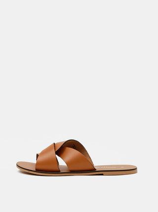 Hnědé kožené pantofle Dorothy Perkins