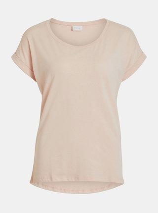 Světle růžové basic tričko VILA