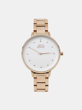 Dámské hodinky s kovovým páskem v růžovozlaté barvě Slazenger