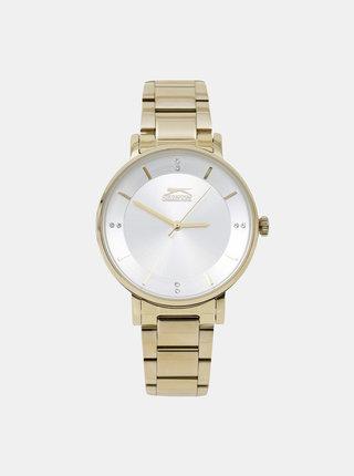Dámske hodinky s kovovým remienkom v zlatej farbe Slazenger
