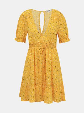 Žluté vzorované šaty Miss Selfridge