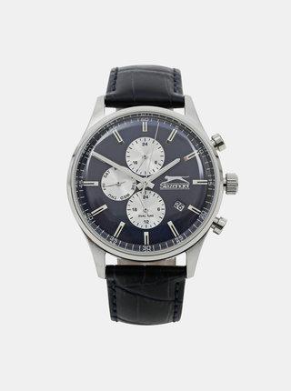 Pánské hodinky s modrým koženým páskem Slazenger