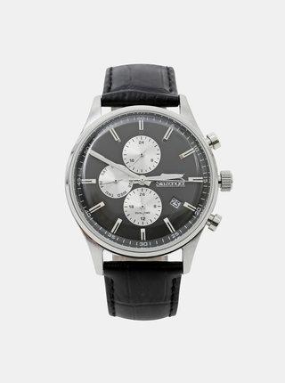 Pánské hodinky s černým koženým páskem Slazenger