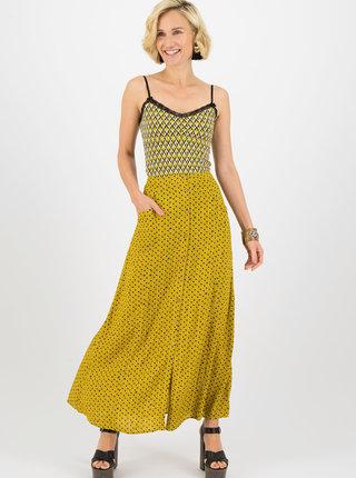 Horčicová vzorovaná maxi sukňa Blutsgeschwister