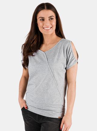 Světle šedé dámské tričko s průstřihy SAM 73