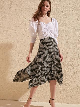 Šedo-čierna vzorovaná sukňa Trendyol