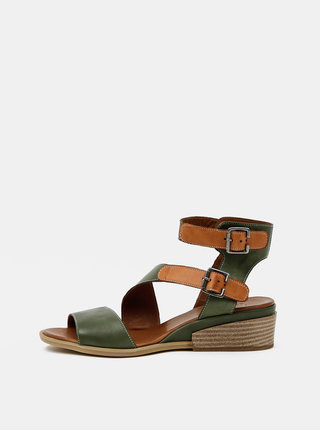 Zelené kožené sandálky na klínku WILD