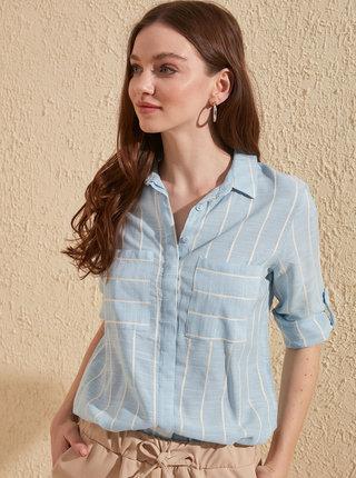 Světle modrá pruhovaná košile Trendyol