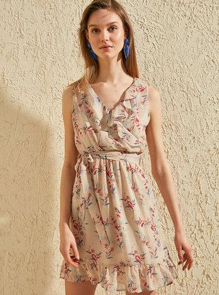 Béžové květované šaty Trendyol