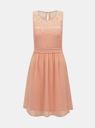 Světle růžové šaty s krajkou VERO MODA
