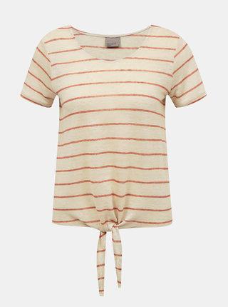 Hnědo-béžové lněné pruhované tričko VERO MODA