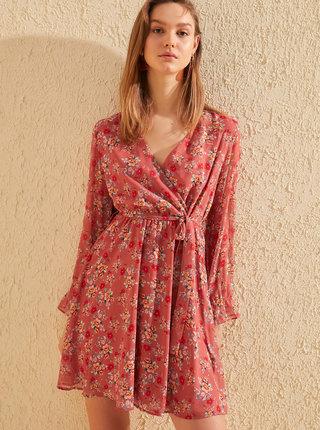 Červené květované šaty Trendyol