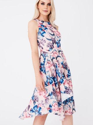 Modro-ružové kvetované šaty Paper Dolls