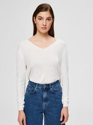 Biely ľahký sveter s prímesov ľanu Selected Femme