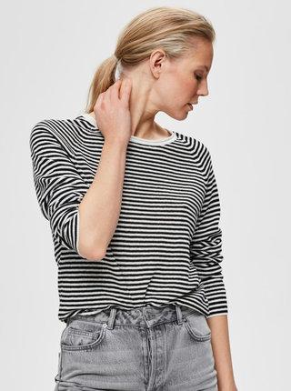 Bílo-černý pruhovaný lněný lehký svetr Selected Femme