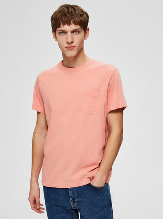 Růžové basic tričko Selected Homme Jared