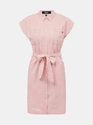 Růžové pruhované košilové šaty ZOOT Judita