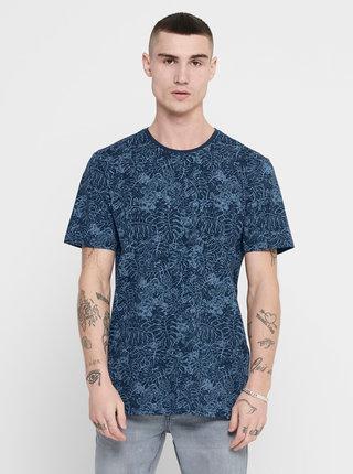 Modré vzorované tričko ONLY & SONS Caj