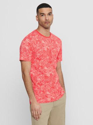 Koralové vzorované tričko ONLY & SONS Caj