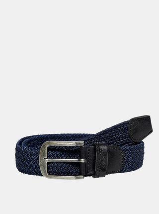 Tmavě modrý pásek s koženými detaily ONLY & SONS Cas
