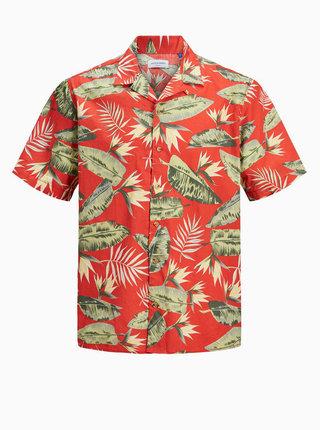 Červená vzorovaná košeľa Jack & Jones Tropical