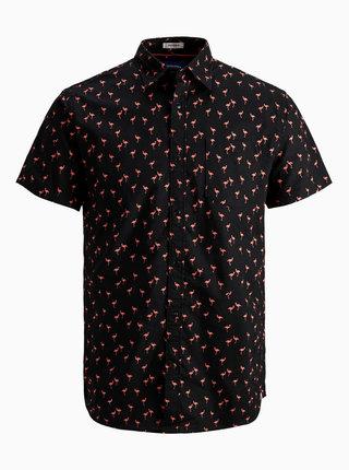 Čierna vzorovaná košeľa Jack & Jones Hex