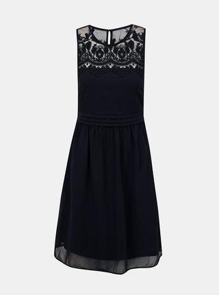 Tmavě modré šaty s krajkou VERO MODA