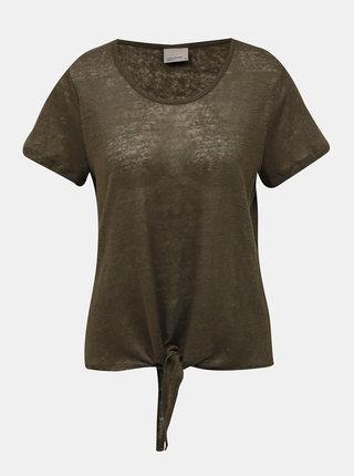 Khaki lněné pruhované tričko VERO MODA