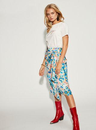 Růžovo-modrá květovaná zavinovací sukně VILA Akvaralla
