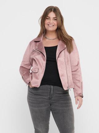Ružová bunda v semišovej úprave ONLY CARMAKOMA Sherry
