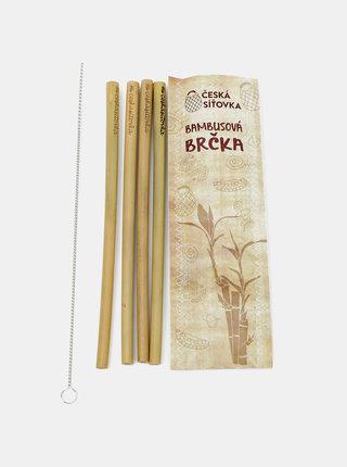 Sada štyroch bambusových slamiek s čistiacou kefkou Česká síťovka