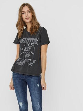 Čierne tričko s potlačou Noisy May Led Zeppelin