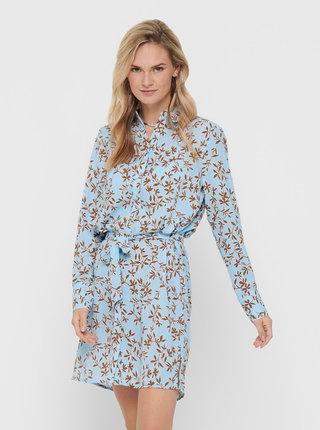 Modré kvetované košeľové šaty ONLY Alma
