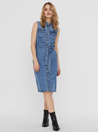 Modré džínové košilové šaty Noisy May Mina