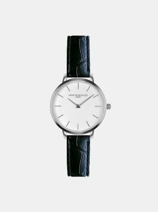 Dámske vzorované hodinky s čiernym koženým remienkom Annie Rosewood