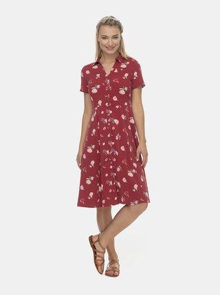 Červené květované košilové midi šaty Ragwear