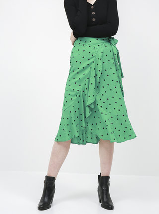Zelená bodkovaná zavinovacia midi sukňa Jacqueline de Yong Susie