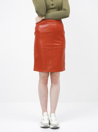 Červená koženková sukňa VILA
