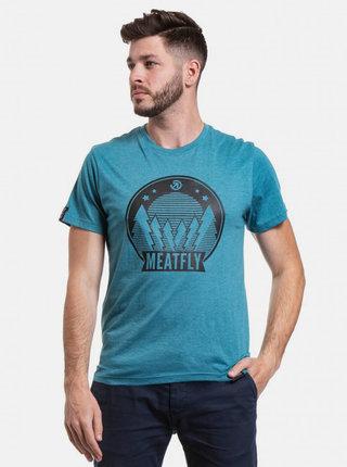 Modré pánské tričko s potiskem Meatfly Camping