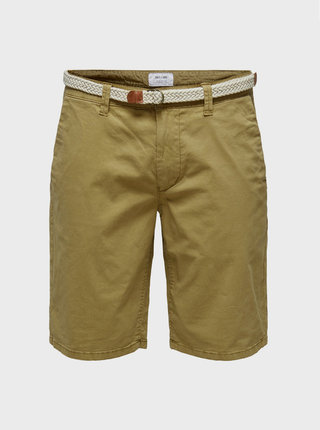 Khaki chino kraťasy s páskem ONLY & SONS Will