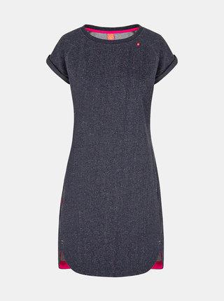 Tmavě modré dámské žíhané šaty LOAP Ebinka