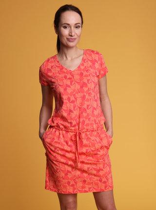 Oranžové dámské vzorované šaty LOAP Banyta