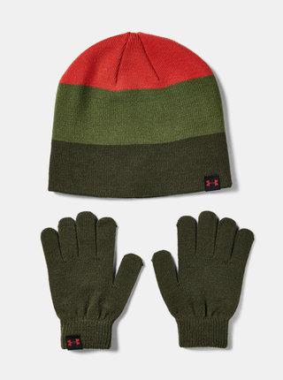 Zelená klučičí čepice s rukavicemi Under Armour