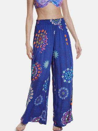 Modré vzorované kalhoty Desigual