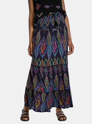 Tmavomodrá vzorovaná maxi sukňa Desigual
