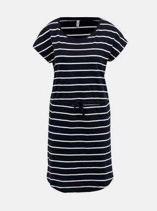 Tmavomodré pruhované basic šaty ONLY May
