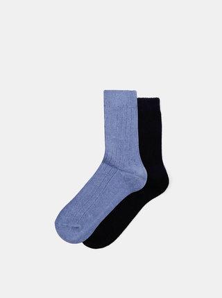 Sada dvoch párov modrých ponožiek Marie Claire