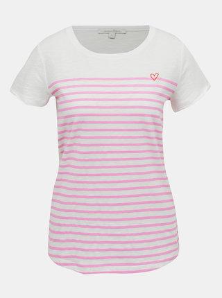 Ružovo-biele dámske tričko Tom Tailor