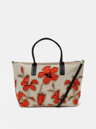 Béžová květovaná kabelka Desigual