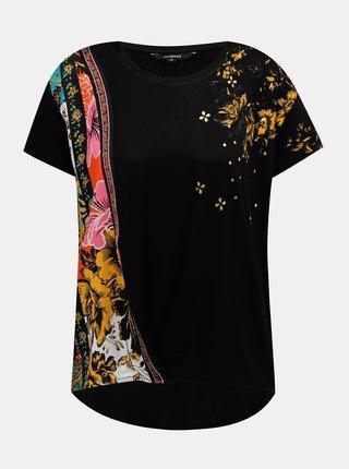 Čierne vzorované tričko Desigual